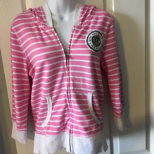 University of PINK Pink & White Stripe Hoodie, EUC